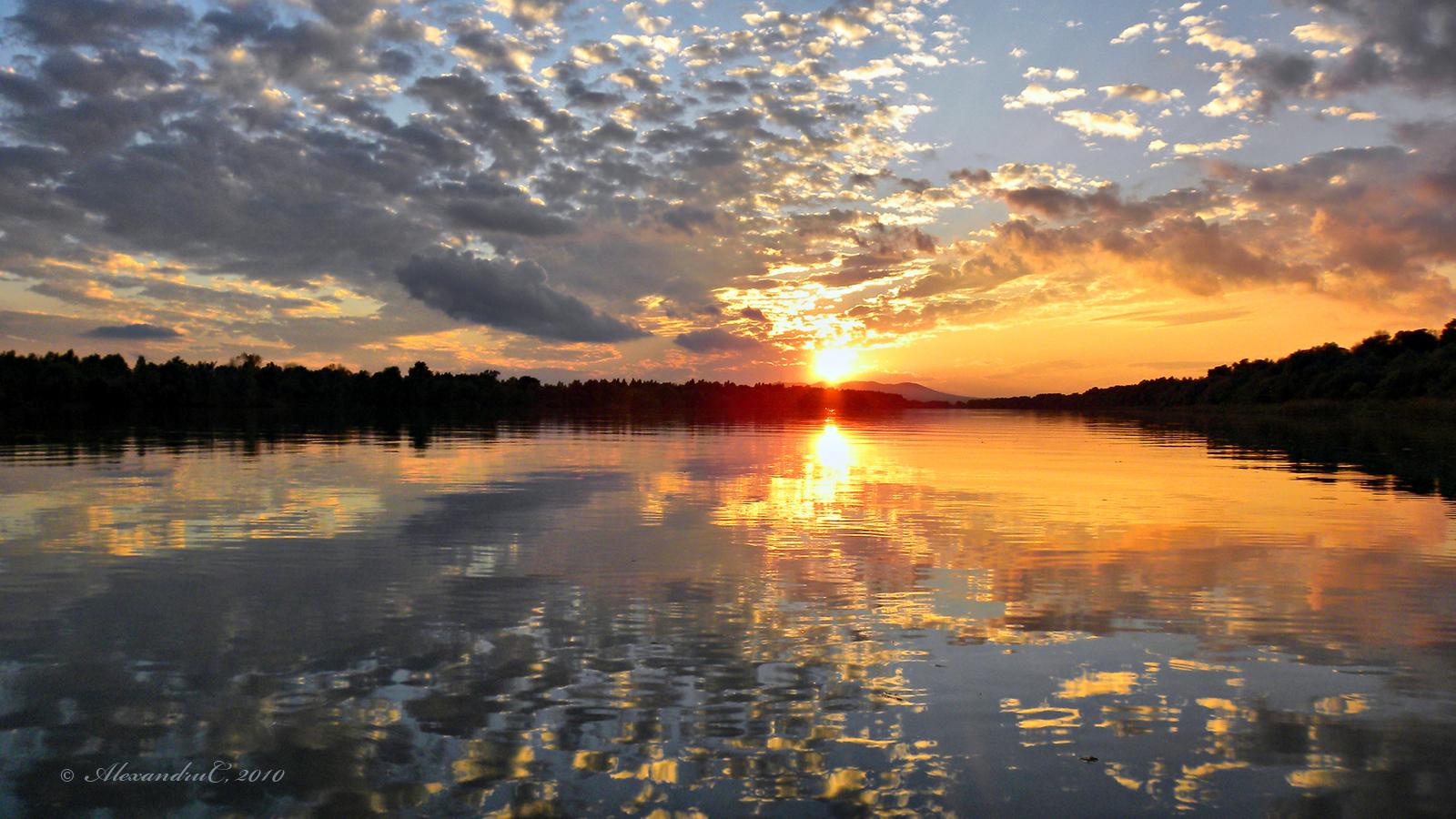 Fishing Sunset Painting 4K HD Desktop Wallpaper For